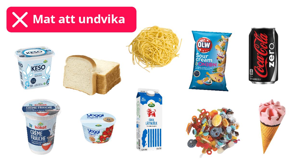 Chips, lightprodukter, glass, godis, vitt bröd, creme fraiche, vit pasta