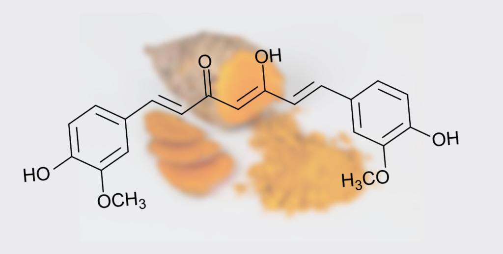 Hel gurkmeja, malen gurkmeja, och den chemiska strukturen av curcumin