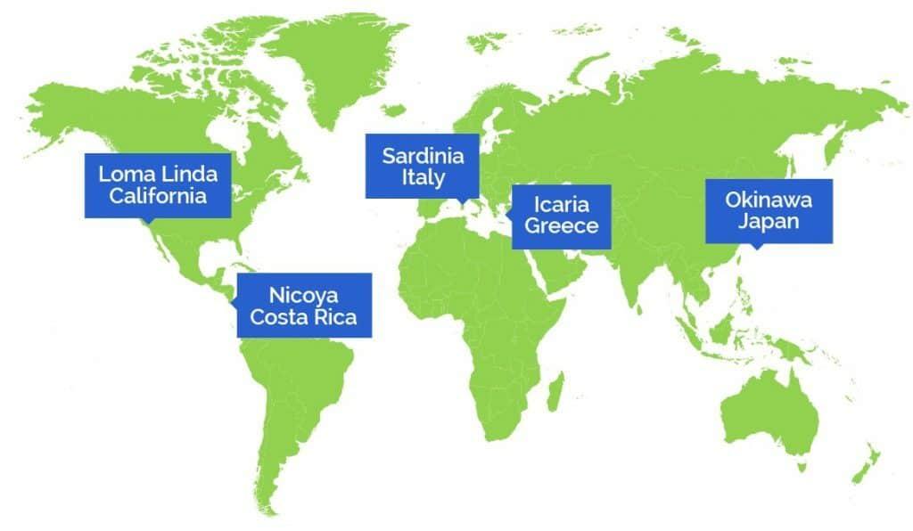 De blå zonerna: Loma Linda, Nicoya, Sardinien, Icaria, Okinawa