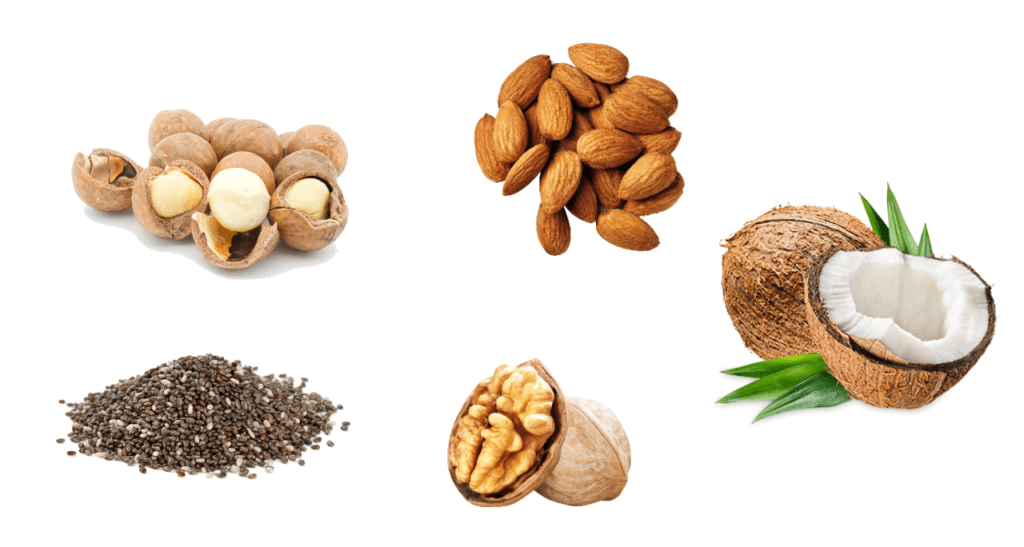Olika nötter och frön