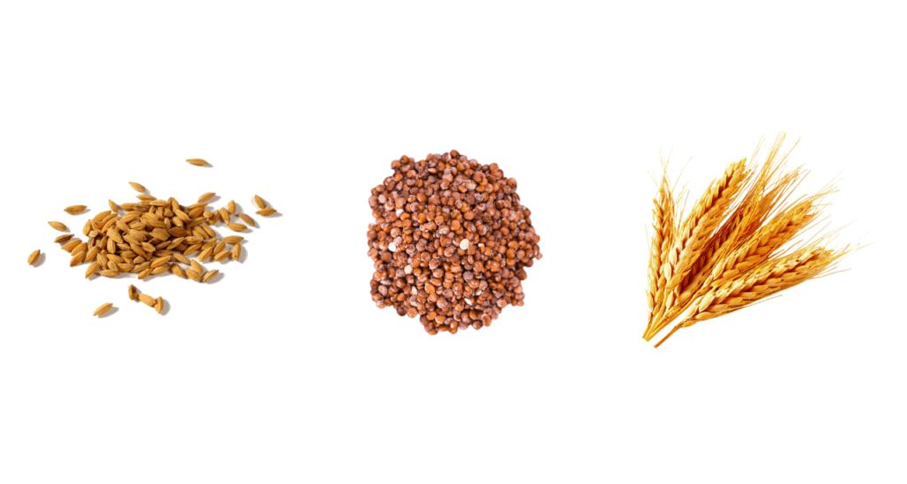Brunt ris, quinoa och havre
