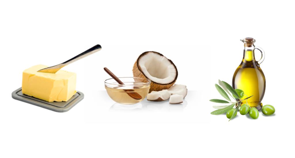 Smör, kokosolja och olivolja